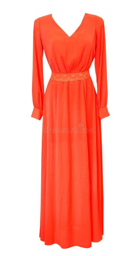 Κομψό θηλυκό μακρύ κόκκινο φόρεμα που απομονώνεται στο λευκό Να εξισώσει το φόρεμα στοκ φωτογραφία