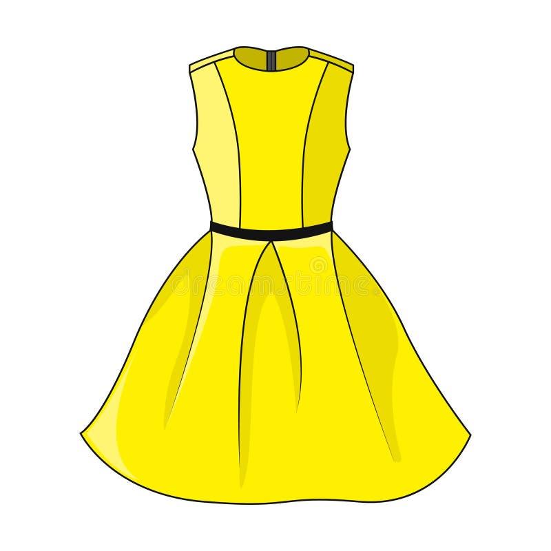 Κομψό κίτρινο εικονίδιο φορεμάτων Όμορφο κοντό κίτρινο φόρεμα με τη μαύρη/σκούρο γκρι ζώνη, που απομονώνεται στο άσπρο υπόβαθρο απεικόνιση αποθεμάτων