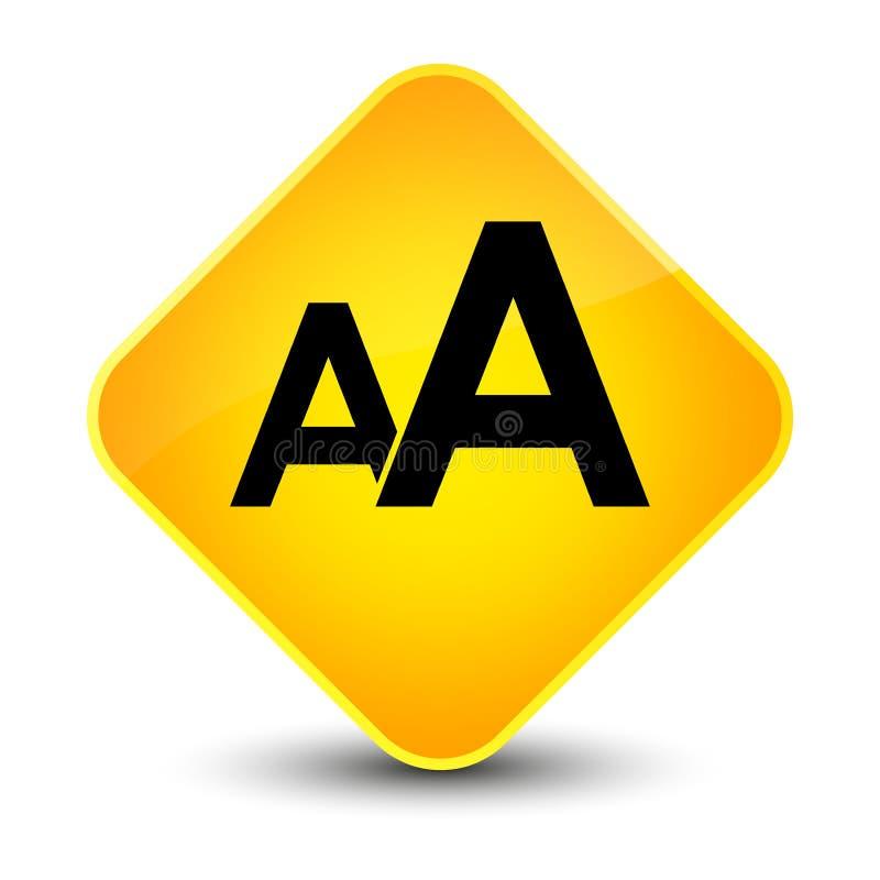 Κομψό κίτρινο κουμπί διαμαντιών εικονιδίων μεγέθους πηγών διανυσματική απεικόνιση
