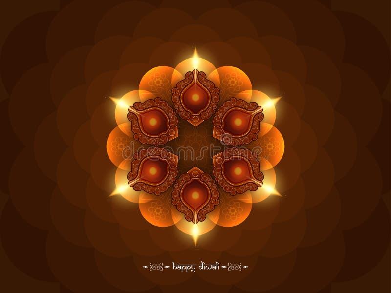 Κομψό καφετί σχέδιο υποβάθρου Diwali χρώματος ευτυχές διανυσματική απεικόνιση