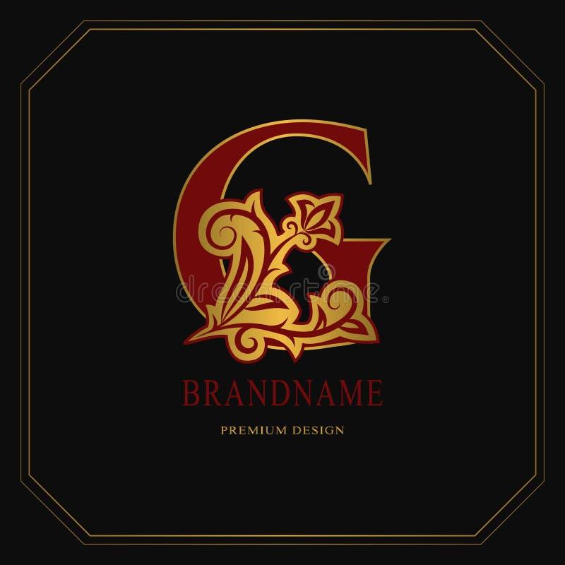 Κομψό κεφαλαίο γράμμα Γ Χαριτωμένο floral ύφος Καλλιγραφικό χρυσό όμορφο λογότυπο Συρμένο τρύγος έμβλημα για το σχέδιο βιβλίων, ε απεικόνιση αποθεμάτων