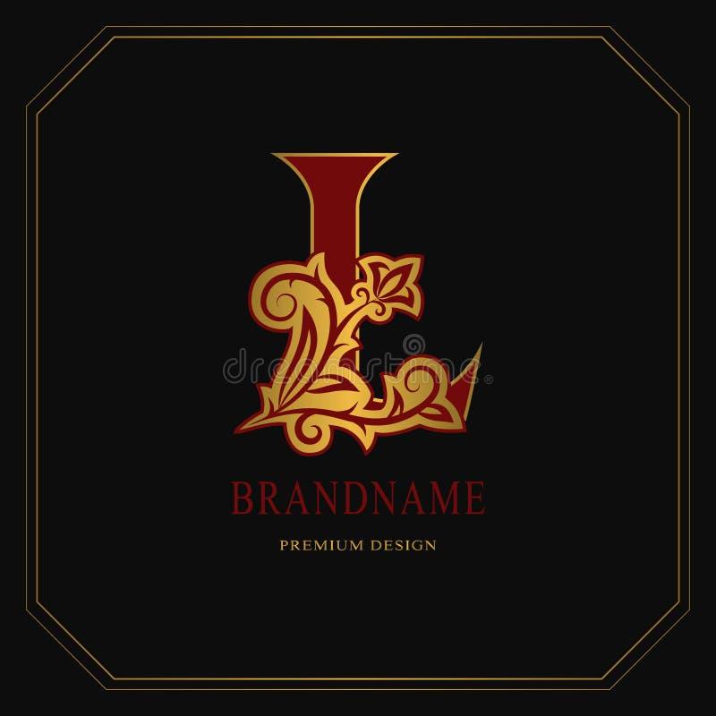 Κομψό κεφαλαίο γράμμα Λ Χαριτωμένο floral ύφος Καλλιγραφικό χρυσό όμορφο λογότυπο Συρμένο τρύγος έμβλημα για το σχέδιο βιβλίων, ε απεικόνιση αποθεμάτων