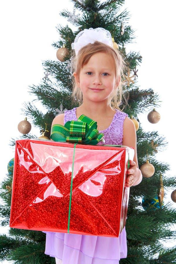 Κομψό κορίτσι με ένα δώρο στοκ φωτογραφία