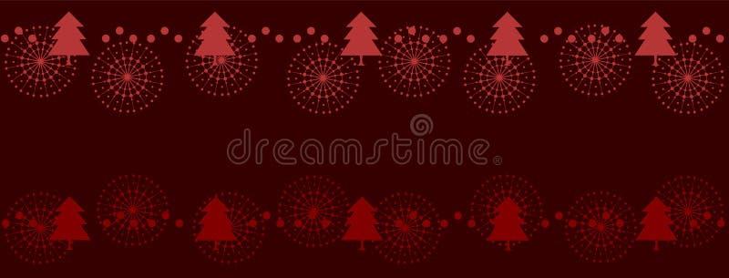 Κομψό κόκκινο σχέδιο Χριστουγέννων με τα δέντρα και snowflakes Εορταστικό έμβλημα Χαρούμενα Χριστούγεννας ελεύθερη απεικόνιση δικαιώματος