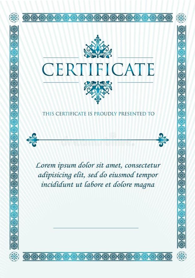 Κομψό κλασικό πιστοποιητικό του επιτεύγματος διανυσματική απεικόνιση