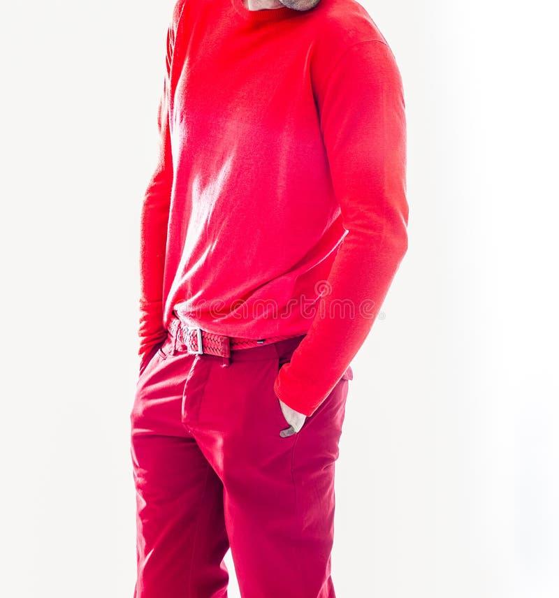 Κομψό νέο όμορφο άτομο στον κόκκινο ιματισμό Πορτρέτο μόδας στούντιο στοκ φωτογραφίες