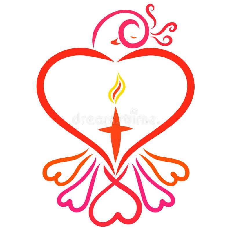 Κομψό πουλί με τις καρδιές και σταυρός με τη φλόγα ελεύθερη απεικόνιση δικαιώματος