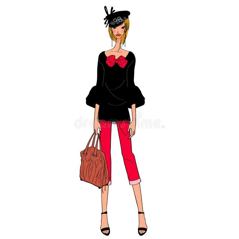 Κομψό πρότυπο μόδας διανυσματική απεικόνιση