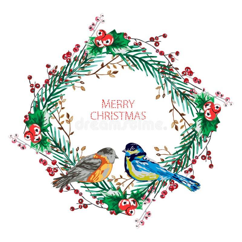 Κομψό στεφάνι Χριστουγέννων διανυσματική απεικόνιση