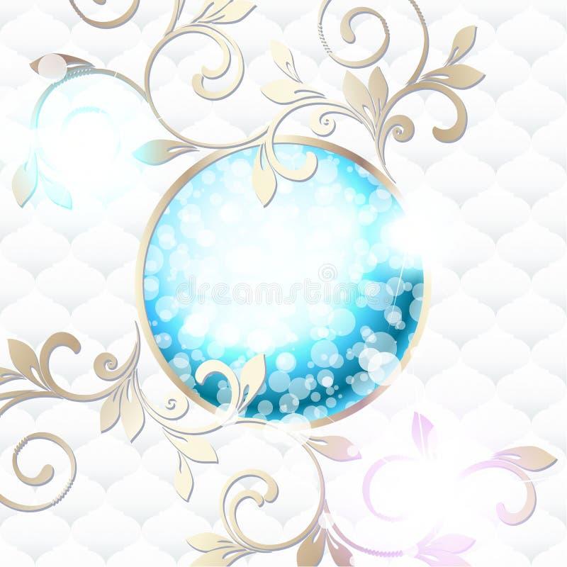 Κομψό στυλ ροκοκό έμβλημα στο δονούμενο μπλε στο λευκό ελεύθερη απεικόνιση δικαιώματος