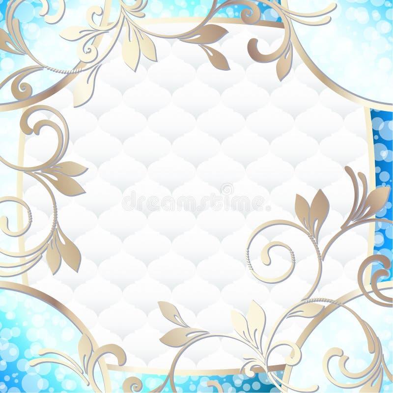 Κομψό στυλ ροκοκό πλαίσιο στο δονούμενο μπλε στο λευκό απεικόνιση αποθεμάτων