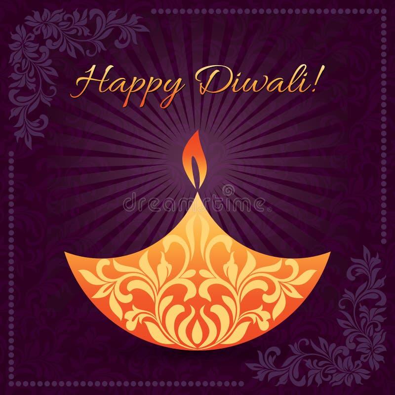 Κομψό σχέδιο καρτών του παραδοσιακού ινδικού φεστιβάλ Diwali με το λαμπτήρα διανυσματική απεικόνιση