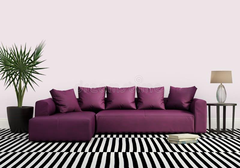 Κομψό σύγχρονο φρέσκο εσωτερικό με τον πορφυρό καναπέ στοκ φωτογραφία