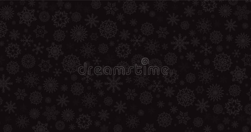 Κομψό χειμερινό μαύρο υπόβαθρο με τις ασημένιες μειωμένες νιφάδες χιονιού απεικόνιση αποθεμάτων