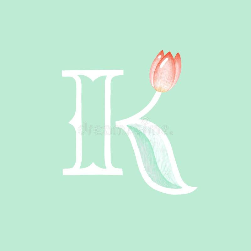 Κομψό όμορφο συρμένο χέρι floral λογότυπο απεικόνισης επικεφαλίδων γραμμάτων Κ διανυσματική απεικόνιση