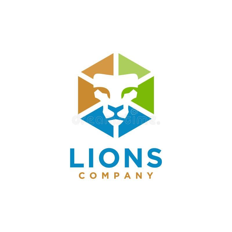 Κομψό ύφος σχεδίου λογότυπων λιονταριών απεικόνιση αποθεμάτων