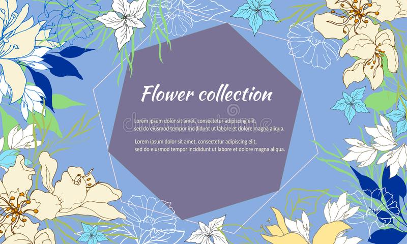 Κομψό floral πλαίσιο με τα λεπτά χρωματισμένα λουλούδια Λουλούδια άνοιξη σε ένα μπλε υπόβαθρο r διανυσματική απεικόνιση