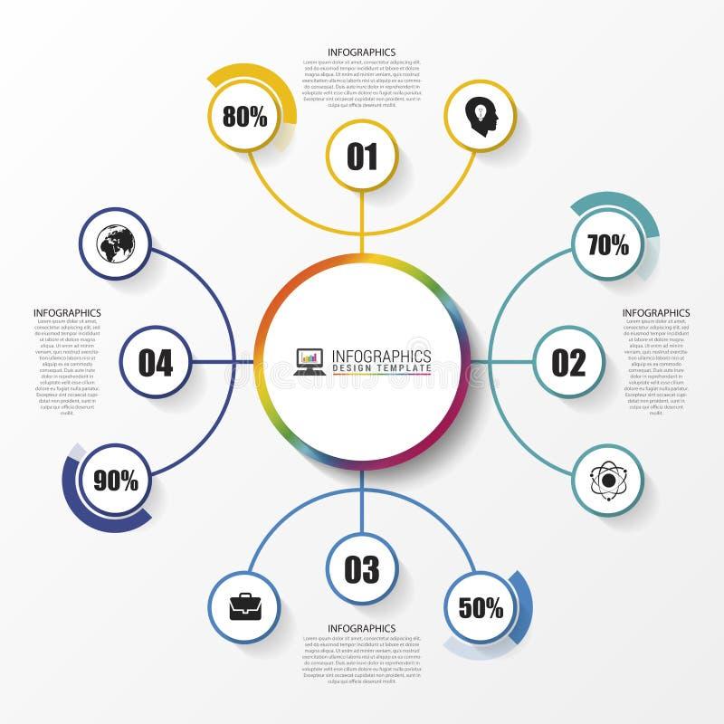 Κομψό infographic σχέδιο προτύπων με τους κύκλους διάνυσμα διανυσματική απεικόνιση