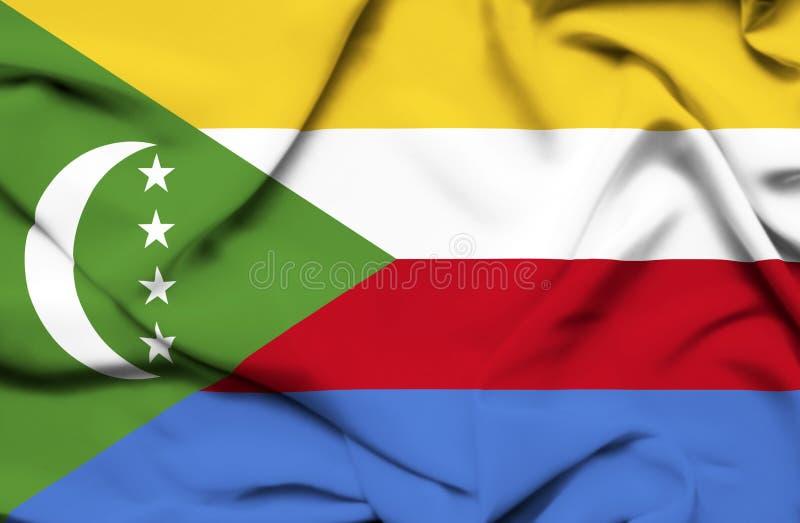Κομόρες που κυματίζουν τη σημαία διανυσματική απεικόνιση