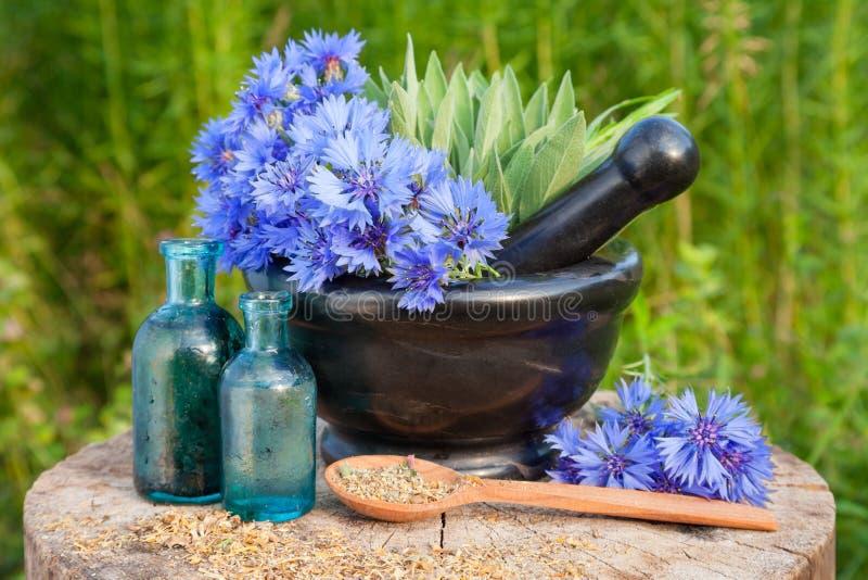 Κονίαμα με τα μπλε cornflowers και φασκομηλιά, φιαλίδια με το ουσιαστικό πετρέλαιο στοκ εικόνες