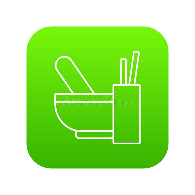 Κονίαμα με το πράσινο διάνυσμα εικονιδίων γουδοχεριών διανυσματική απεικόνιση