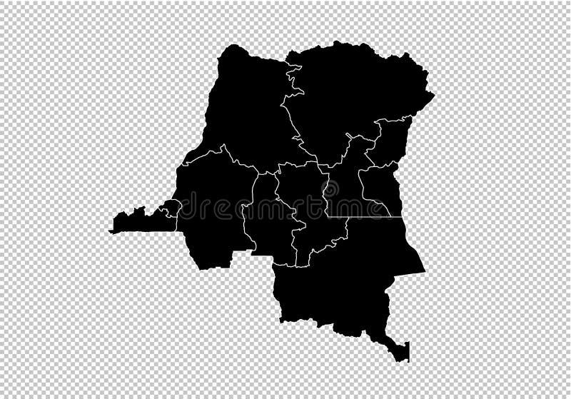 Κονγκό ο ΔΡ χάρτης - υψηλός λεπτομερής μαύρος χάρτης με τους νομούς/τις περιοχές/τις καταστάσεις του ΔΡ του Κογκό Χάρτης του Αφγα διανυσματική απεικόνιση
