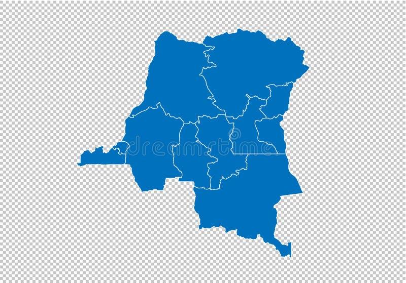 Κονγκό ο ΔΡ χάρτης - υψηλός λεπτομερής μπλε χάρτης με τους νομούς/τις περιοχές/τις καταστάσεις του ΔΡ του Κογκό Κογκό ο ΔΡ χάρτης ελεύθερη απεικόνιση δικαιώματος