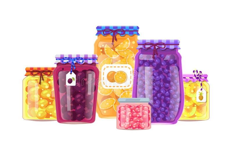 Κονσερβοποίηση των διανυσματικών βάζων προϊόντων με τα συντηρημένα φρούτα απεικόνιση αποθεμάτων