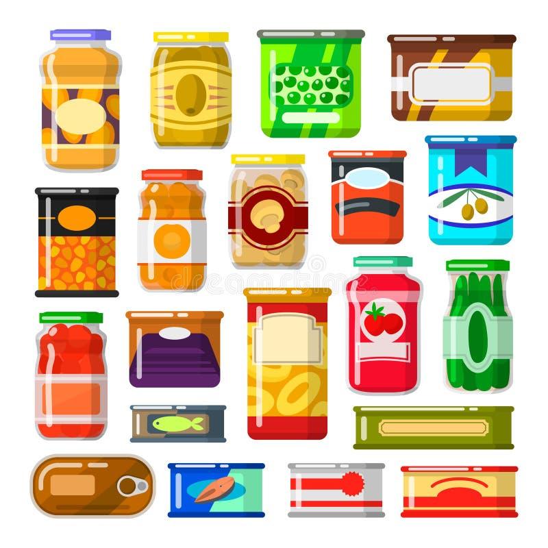Κονσερβοποιημένα αγαθά καθορισμένα απεικόνιση αποθεμάτων