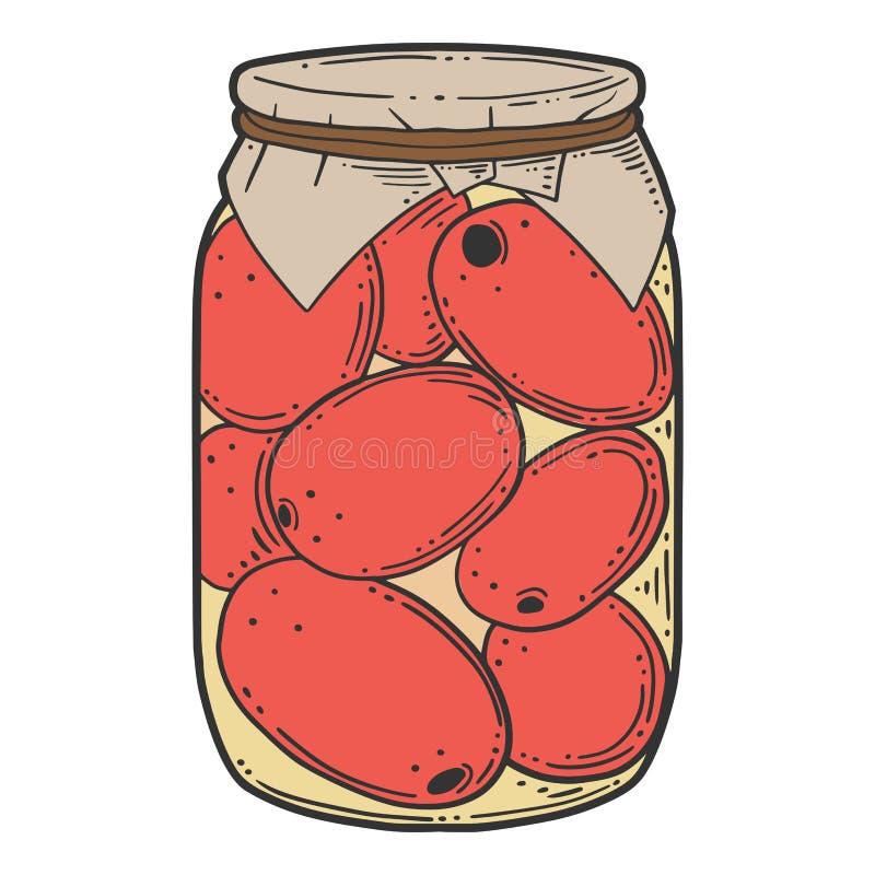 Κονσερβοποιημένη tometoes κονσέρβα Διανυσματική έννοια στο ύφος doodle και σκίτσων απεικόνιση αποθεμάτων