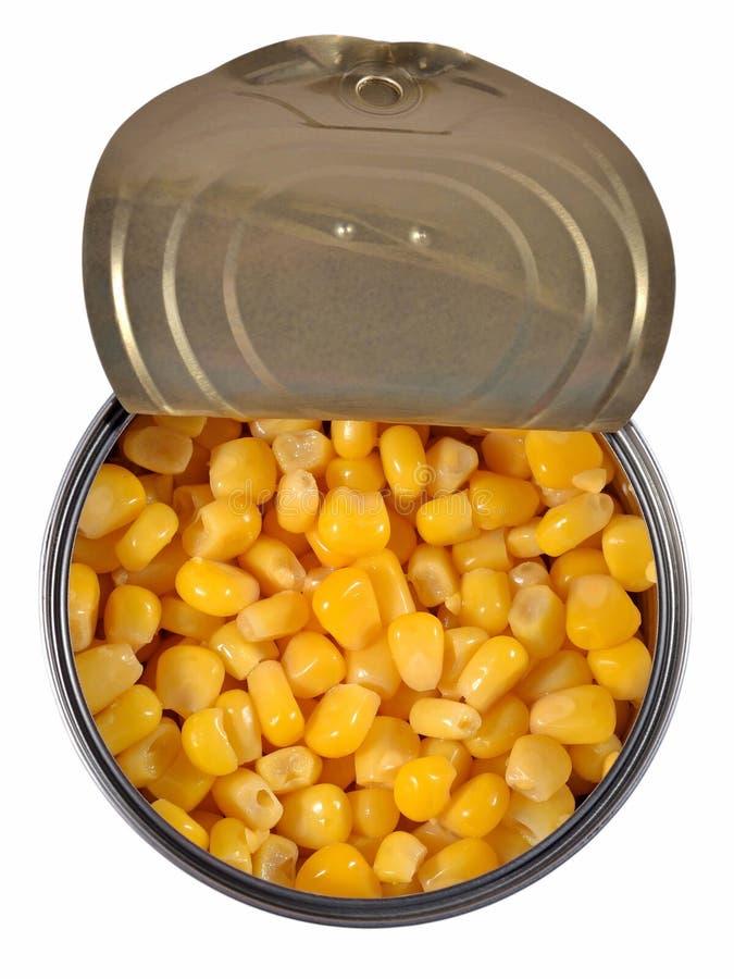 Κονσερβοποιημένο γλυκό καλαμπόκι σε ένα δοχείο κασσίτερου στοκ εικόνες