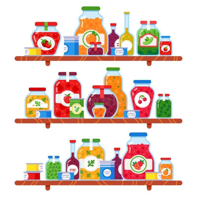 Κονσερβοποιημένο ράφι τροφίμων Τα συντηρημένα μπιζέλια, γεύμα στα ράφια μαγαζιό και τα συντηρημένα μαγειρικά προϊόντα λαχανικών α ελεύθερη απεικόνιση δικαιώματος