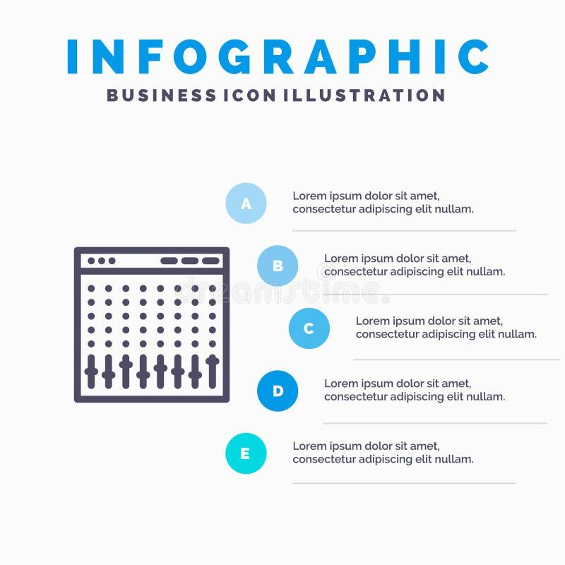Κονσόλα, έλεγχος, ελεγκτής, υλικό, εικονίδιο γραμμών αναμικτών με το υπόβαθρο infographics παρουσίασης 5 βημάτων ελεύθερη απεικόνιση δικαιώματος