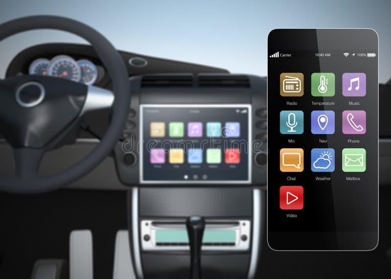 Κονσόλα πολυμέσων αυτοκινήτων που συγχρονίζεται με το έξυπνο τηλέφωνο διανυσματική απεικόνιση