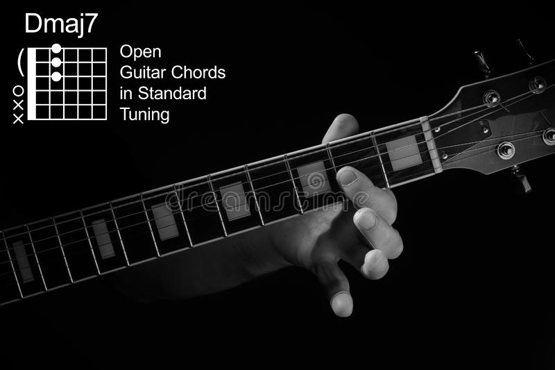 Κοντινό πλάνο με το χέρι που παίζει χορδή Dmaj7 στην κιθάρα στοκ εικόνες