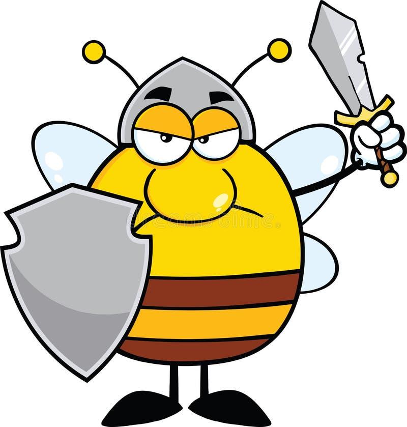 0 κοντόχοντρος πολεμιστής μελισσών με την ασπίδα και το ξίφος διανυσματική απεικόνιση