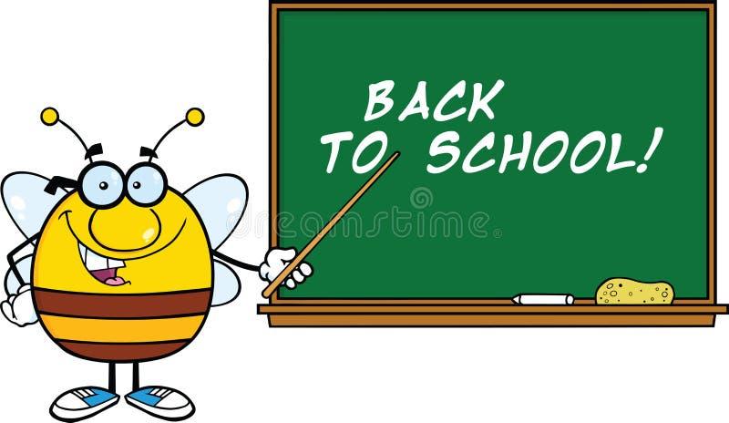 Κοντόχοντρος χαρακτήρας κινουμένων σχεδίων μελισσών με τα γυαλιά με έναν δείκτη μπροστά από τον πίνακα ελεύθερη απεικόνιση δικαιώματος