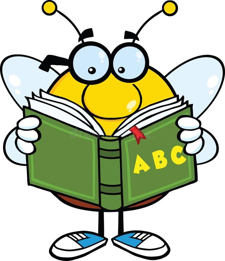 Κοντόχοντρος χαρακτήρας κινουμένων σχεδίων μελισσών με τα γυαλιά που διαβάζει ένα βιβλίο ABC διανυσματική απεικόνιση