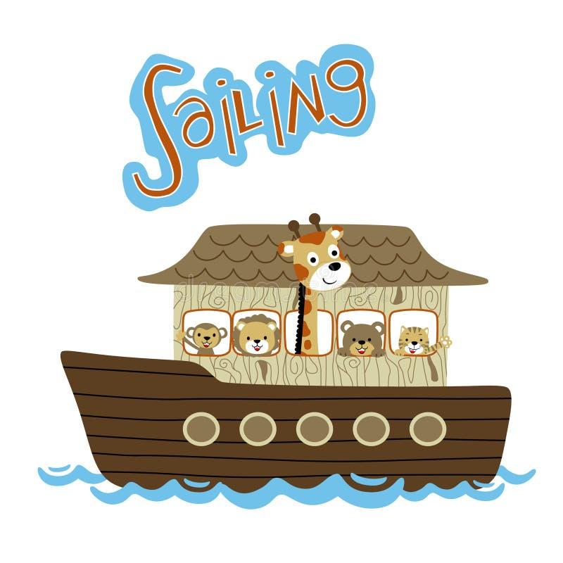 Κοπάδι των κινούμενων σχεδίων ζώων στην ξύλινη βάρκα απεικόνιση αποθεμάτων