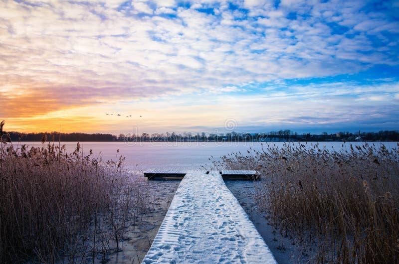 Κοπάδι της μύγας κύκνων πέρα από την παγωμένη λίμνη Elckie στοκ εικόνα με δικαίωμα ελεύθερης χρήσης