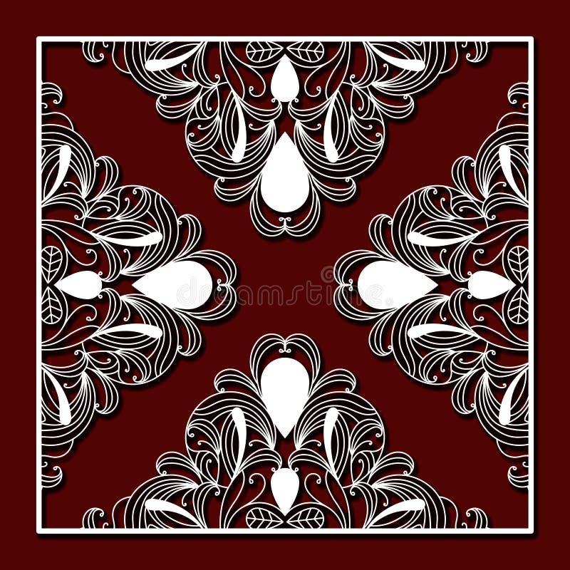 Κοπή λέιζερ του τετραγωνικού πλαισίου με το floral τρίγωνο σχεδίου και το σκούρο κόκκινο υπόβαθρο χρώματος διανυσματική απεικόνιση