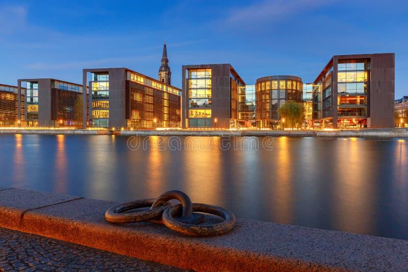 Κοπεγχάγη Ανάχωμα πόλεων στο ηλιοβασίλεμα στοκ φωτογραφίες