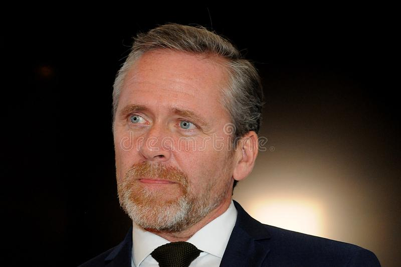 Κοπεγχάγη/Δανία 15 Το Νοέμβριο του 2018 Δανικός υπουργός του Anders Samuelsen τριών υπουργών της Δανίας ξένου - Υπουργός υποθέσεω στοκ φωτογραφία με δικαίωμα ελεύθερης χρήσης