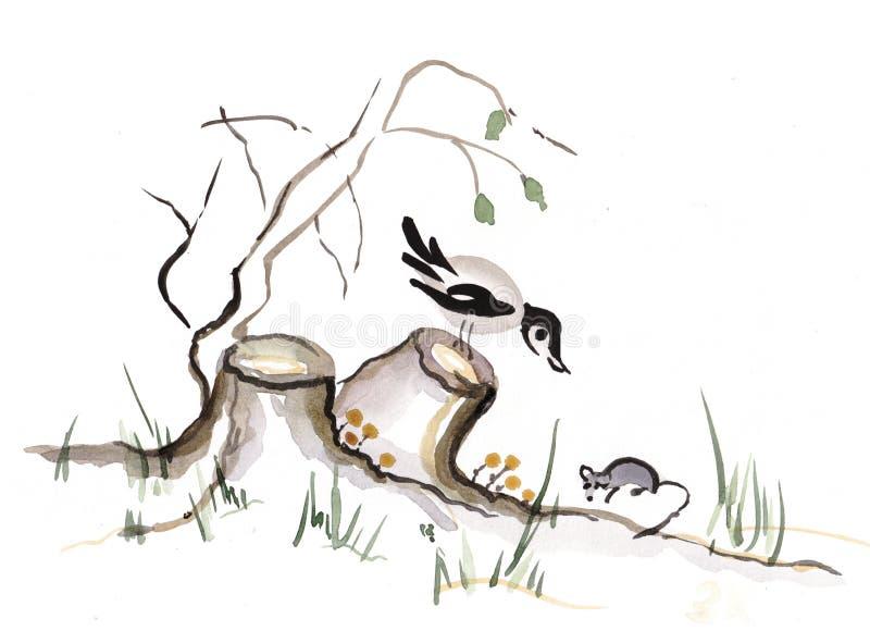 Κοράκι και ποντίκι διανυσματική απεικόνιση