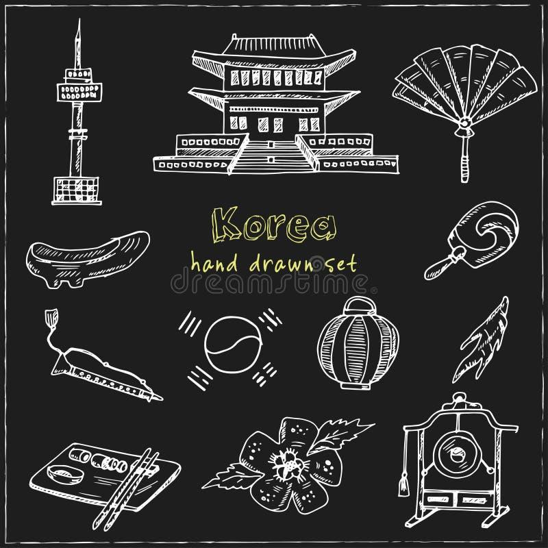 Κορέα Που σύρθηκε το χέρι doodle έθεσε σκίτσα Διανυσματική απεικόνιση για το σχέδιο και το προϊόν συσκευασιών ελεύθερη απεικόνιση δικαιώματος