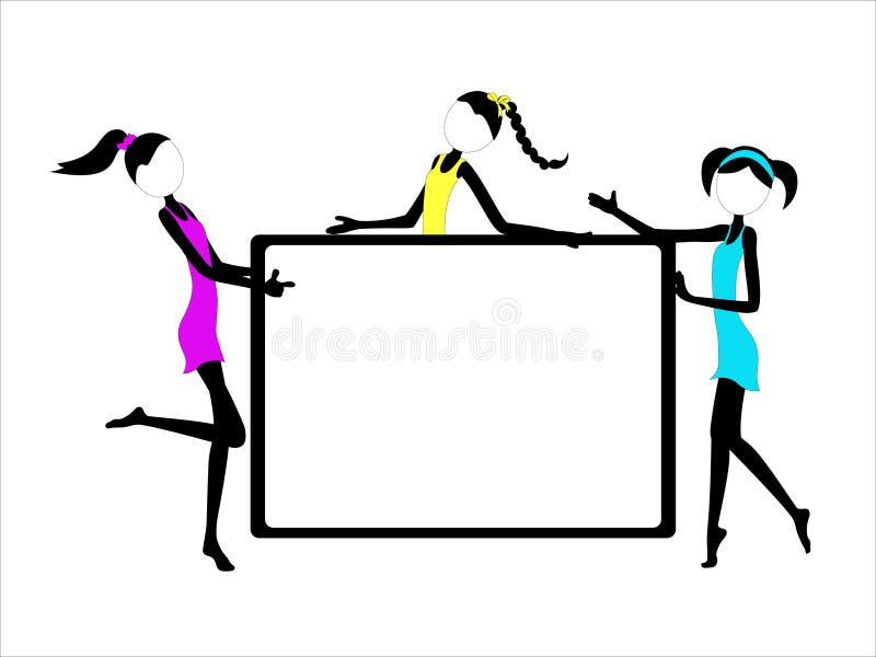 Κορίτσια αριθμού ραβδιών διασκέδασης στα φορέματα Whiteboard με το διάστημα αντιγράφων διανυσματική απεικόνιση