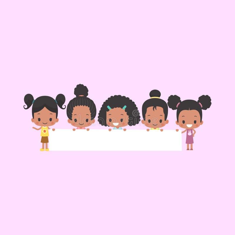 Κορίτσια αφροαμερικάνων με το κενό έμβλημα ελεύθερη απεικόνιση δικαιώματος