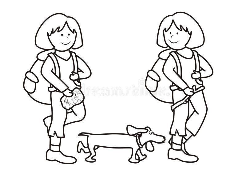 Κορίτσια και σκυλί - χρωματίζοντας βιβλίο απεικόνιση αποθεμάτων