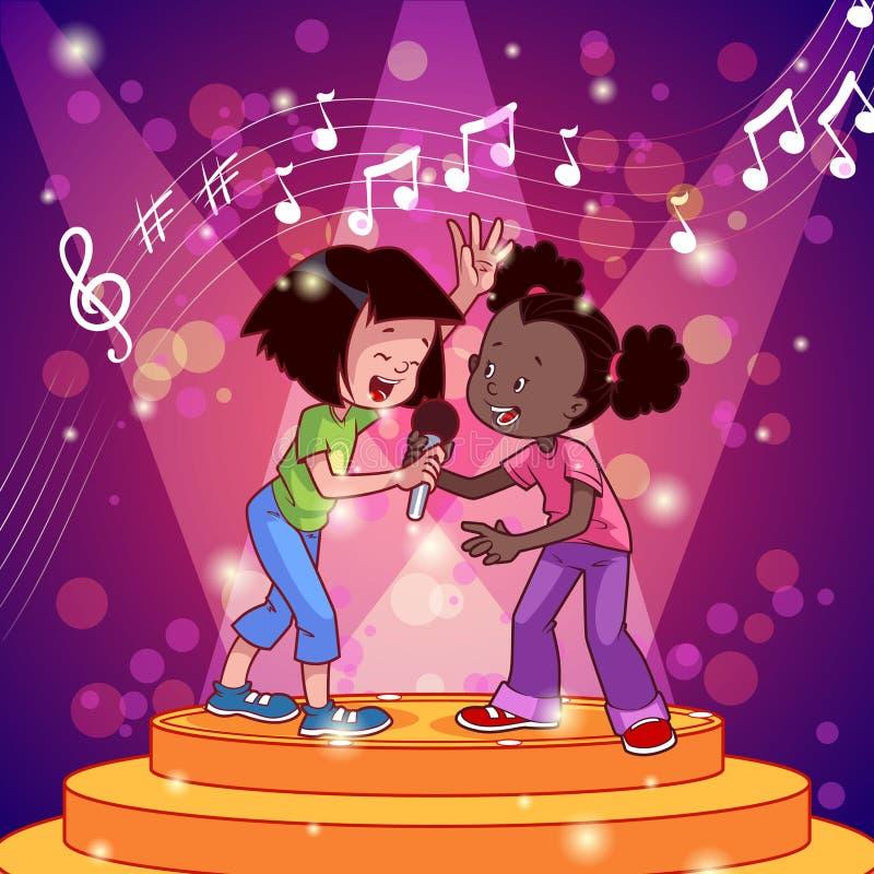 Κορίτσια κινούμενων σχεδίων που τραγουδούν με ένα μικρόφωνο απεικόνιση αποθεμάτων
