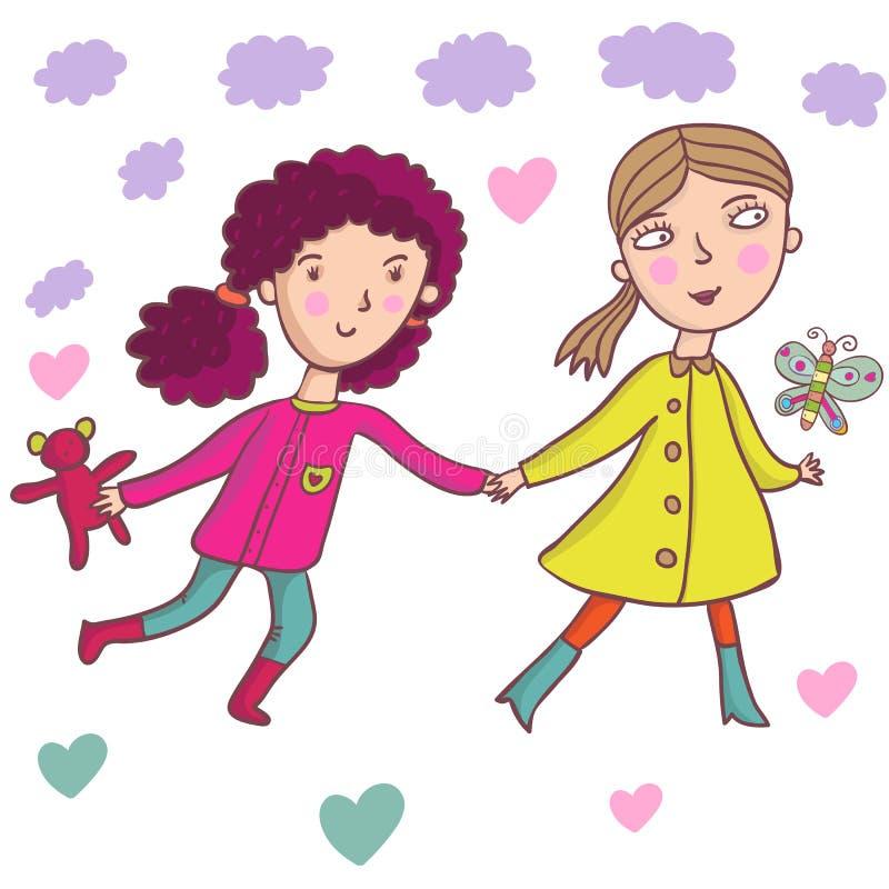 κορίτσια κινούμενων σχε&delt διανυσματική απεικόνιση